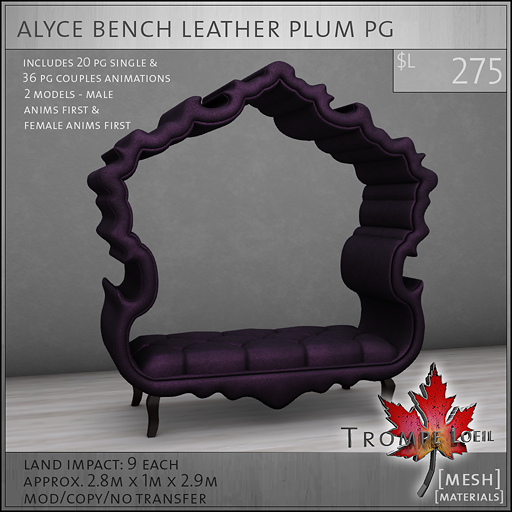 alyce bench leather plum PG L275