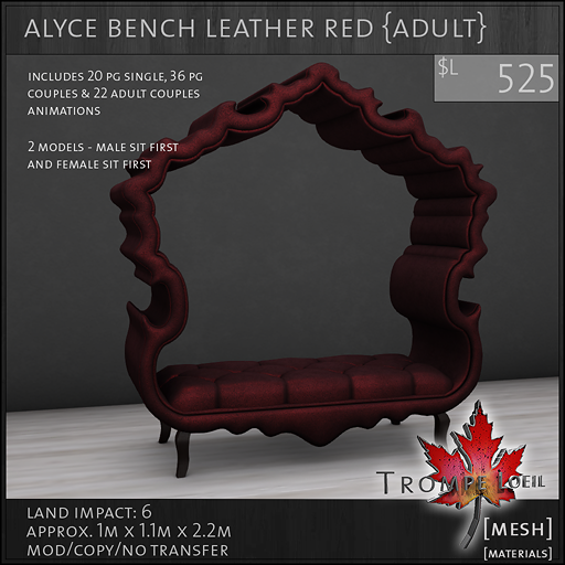 alyce bench leather red Adult L525