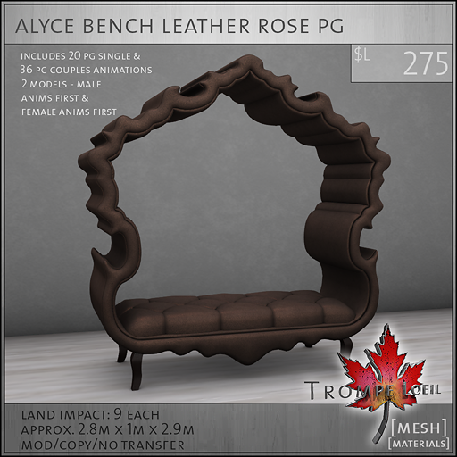 alyce bench leather rose PG L275