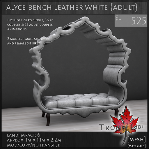 alyce bench leather white Adult L525