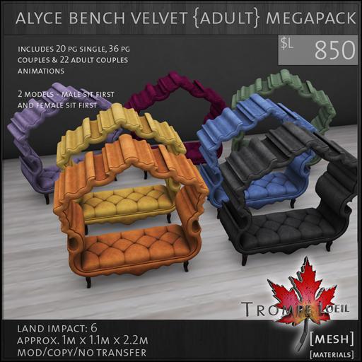 alyce bench velvet Adult Megapack L850