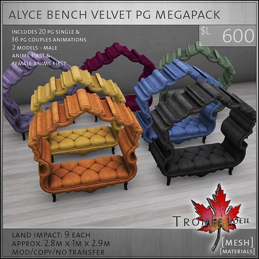 alyce bench velvet PG Megapack L600