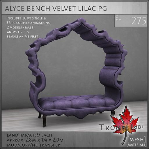 alyce bench velvet lilac PG L275