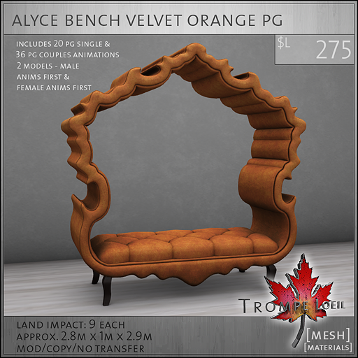 alyce bench velvet orange PG L275