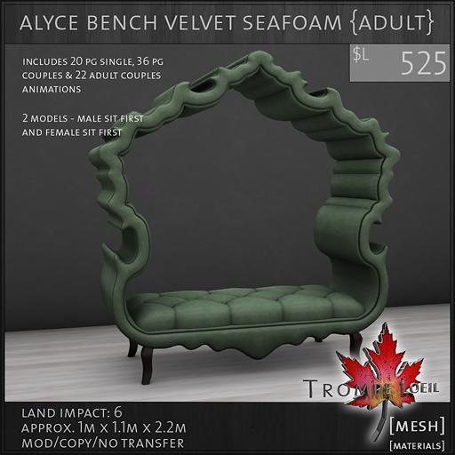 alyce bench velvet seafoam Adult L525