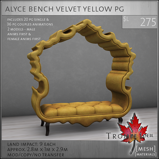 alyce bench velvet yellow PG L275