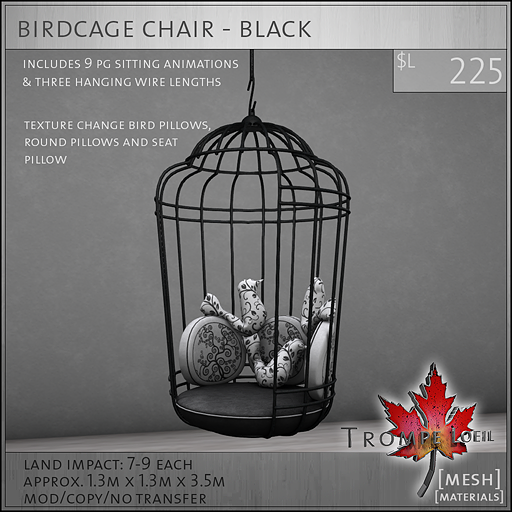 birdcage chair black L225