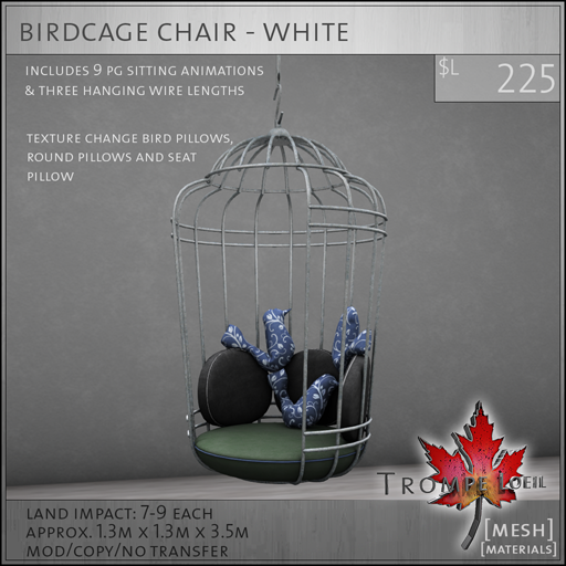 birdcage chair white L225
