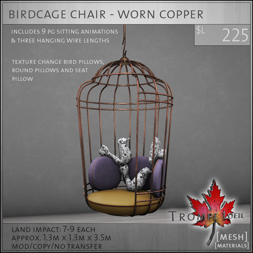 birdcage chair worn copper L225