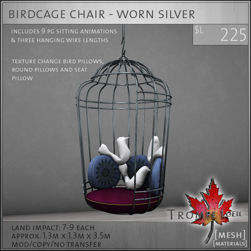 birdcage chair worn silver L225