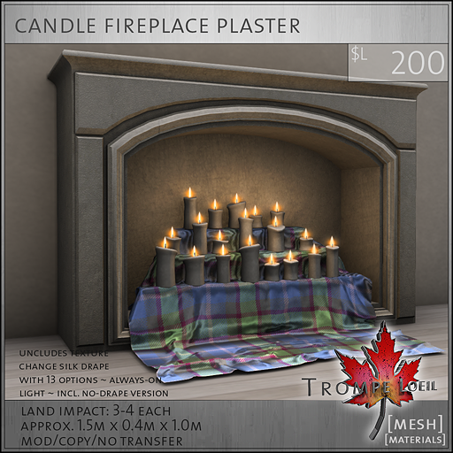 candle fireplace plaster L200