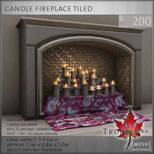 candle fireplace tiled L200