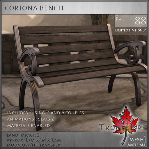 cortona bench L88