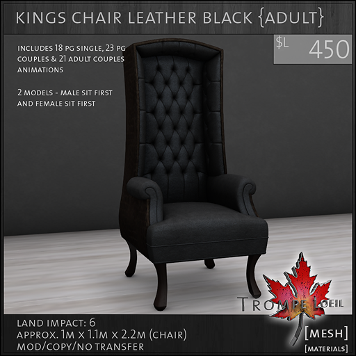 kings chair leather black Adult L450
