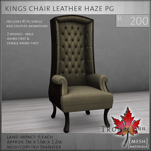 kings chair leather haze PG L200