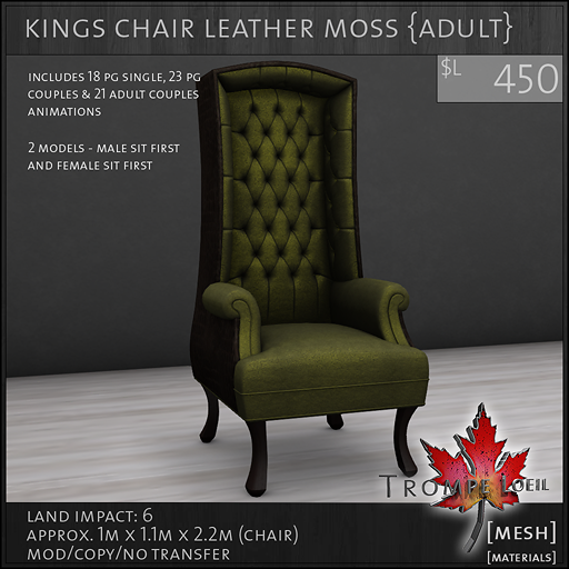 kings chair leather moss Adult L450