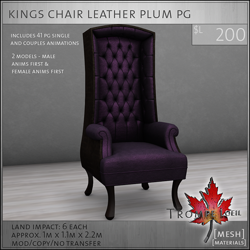 kings chair leather plum PG L200