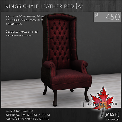 kings chair leather red Adult L450