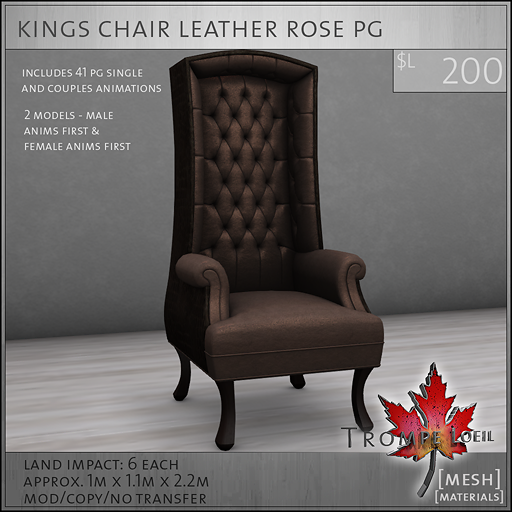 kings chair leather rose PG L200