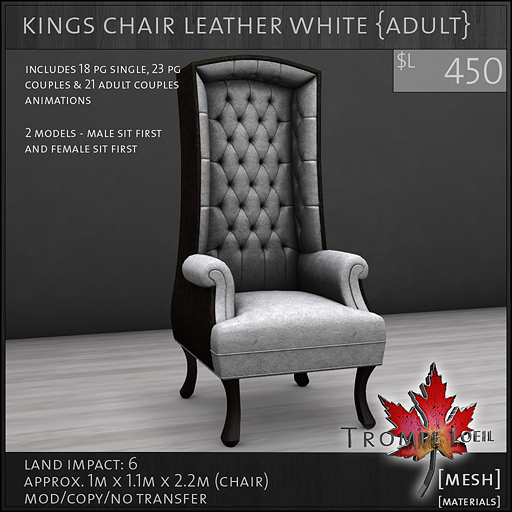 kings chair leather white Adult L450