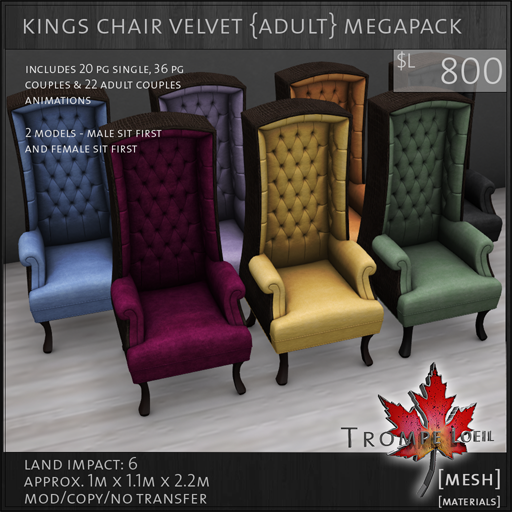 kings chair velvet Adult megapack L800
