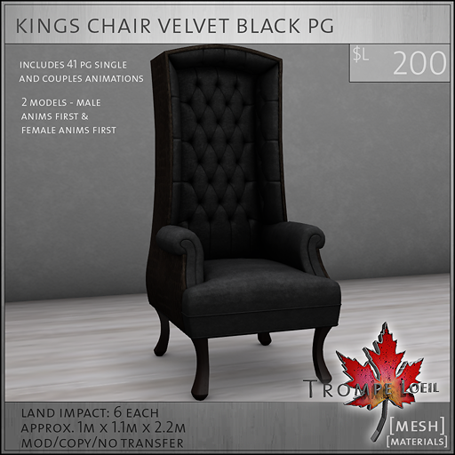 kings chair velvet black PG L200