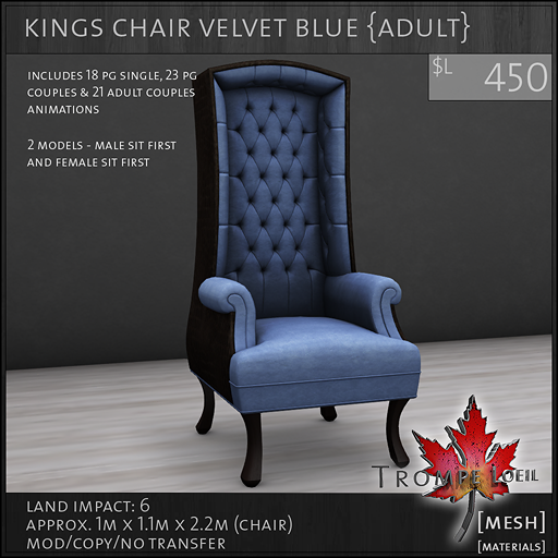 kings chair velvet blue Adult L450
