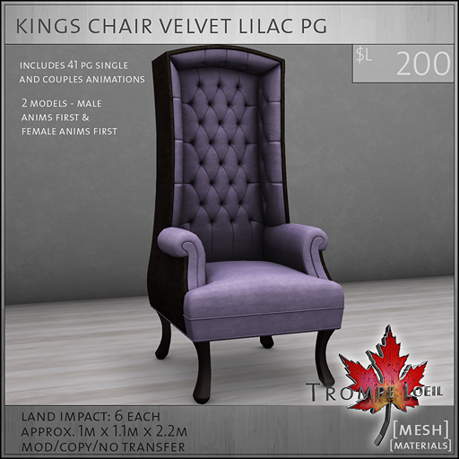 kings chair velvet lilac PG L200