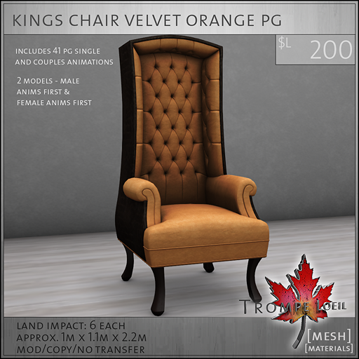 kings chair velvet orange PG L200