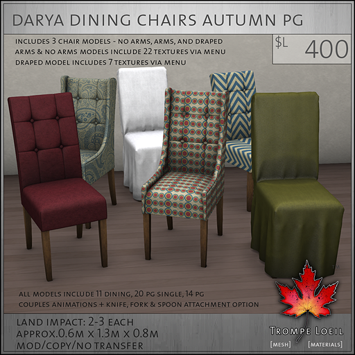 Darya Dining Chairs Autumn PG L400