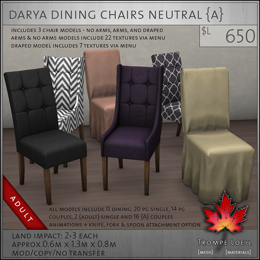 Darya Dining Chairs Neutral A L650