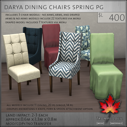 Darya Dining Chairs Spring PG L400