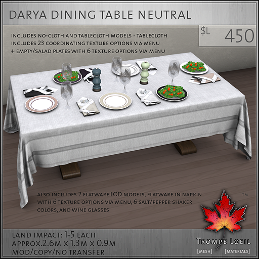 Darya Dining Table Neutral L450