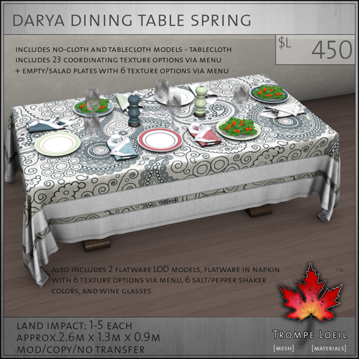 Darya Dining Table Spring L450