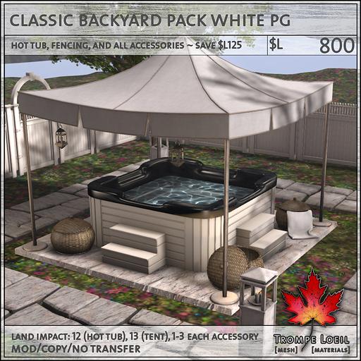 classic backyard pack white PG L800