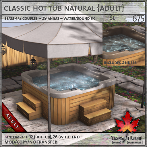 classic hot tub natural Adult L675