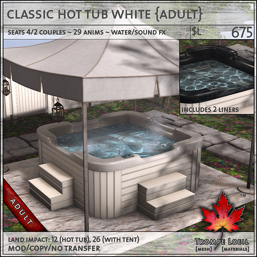 classic hot tub white Adult L675
