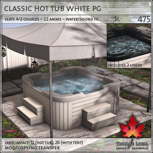 classic hot tub white PG L475