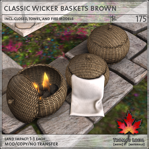 classic wicker baskets brown L175