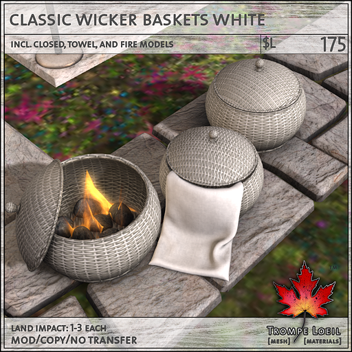 classic wicker baskets white L175
