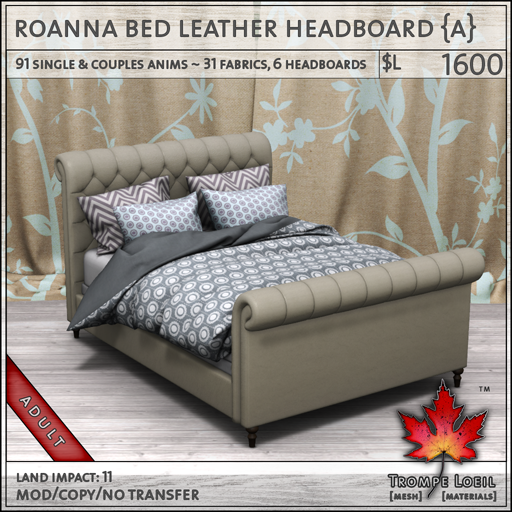 roanna bed leather Adult L1600