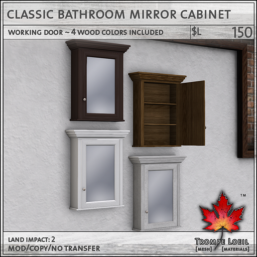 Classic Bathroom Mirror Cabinet L150