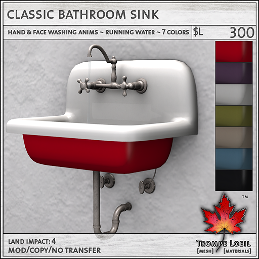 Classic Bathroom Sink L300