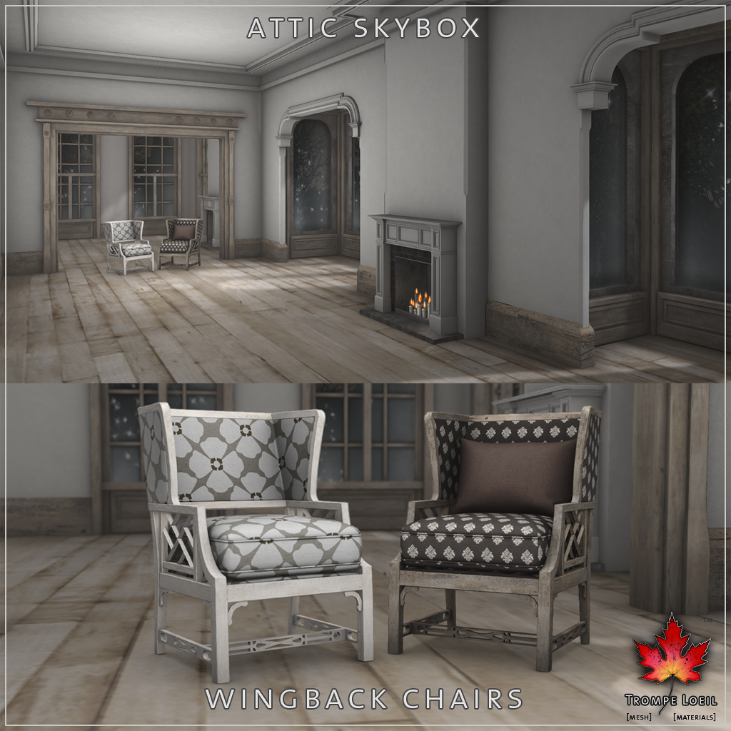 Trompe Loeil - Collabor88 Vendor Collage October 2014 Attic Skybox Wingback Chairs