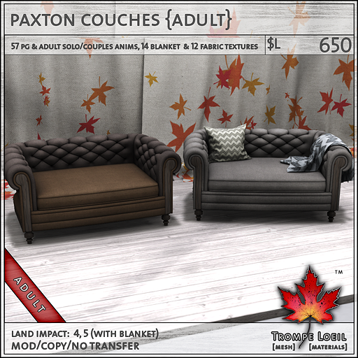 paxton couches adult L650