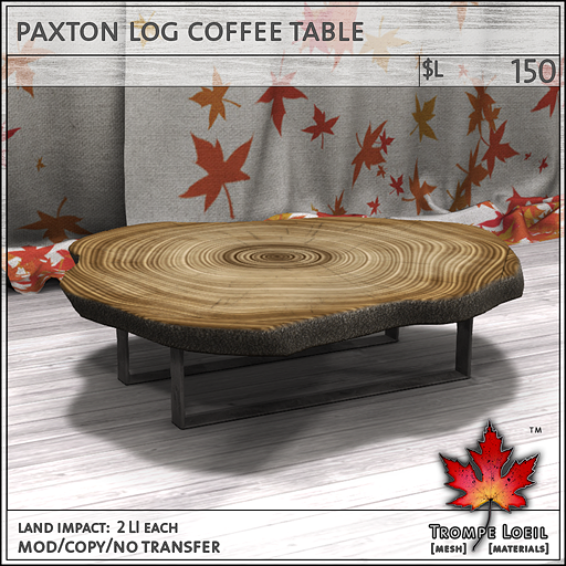 paxton log coffee table L150