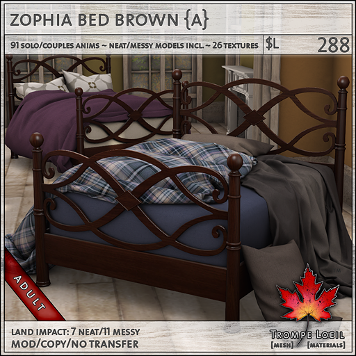 zophia bed brown Adult L288
