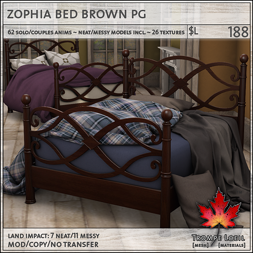 zophia bed brown PG L188
