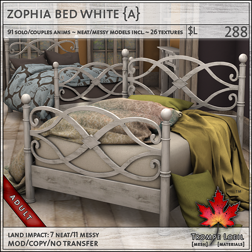 zophia bed white Adult L288