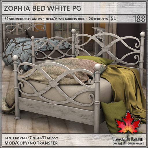 zophia bed white PG L188